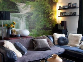 Living room with photo Wallpaper