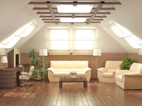White sofa in the living room on the background of parquet and wooden ceiling