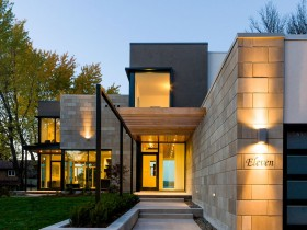 Фасад сучасного котеджу в стилі модернізм