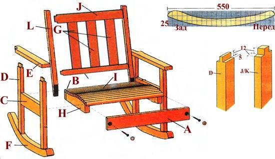 Сделать кресло качалку своими руками чертежи