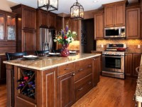 Kitchen dark wood in a classic style