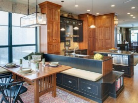 Large kitchen with wooden furniture