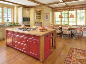 Cozy kitchen interior in wooden finish