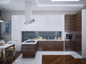 Bright kitchen with wooden finish