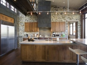 Wooden kitchen in loft style