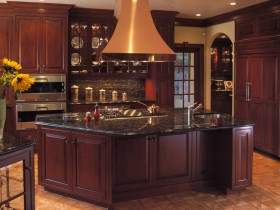 Beautiful kitchen in dark wood