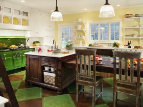 Kitchen wood with green accents