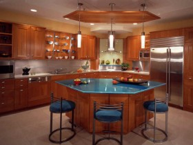 Stylish design wooden kitchen island with blue countertop