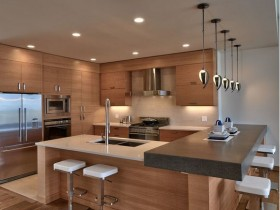 Kitchen under the tree with tiered ceiling