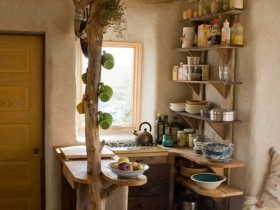 Small kitchen under the tree in country style