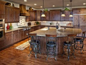 Large kitchen with wood kitchen island