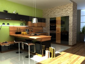Dark green kitchen in modern style