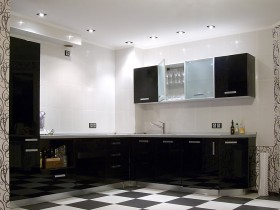 Modern black and white kitchen in modern style