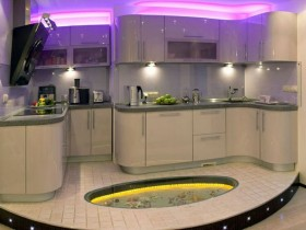 Kitchen in high-tech style ceiling lighting