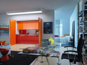 Small kitchenette in orange