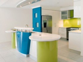 Bright kitchen design in hi-tech style