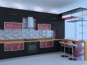 Modern kitchen in black and red shades