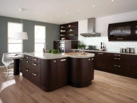Modern kitchen design with elements of loft style