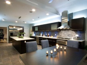 Interior dark kitchen in the style of modernism