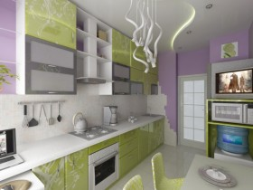 Modern kitchen green color