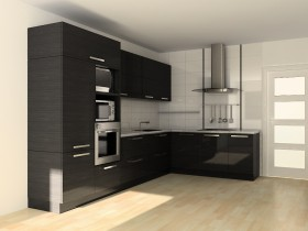 Dark wooden furniture in the kitchen