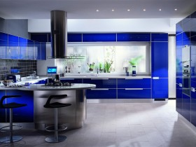 Blue and white kitchen in modern style