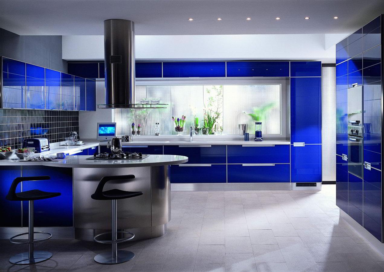 Синий дизайн кухни