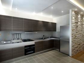 Modern kitchen style modern wooden dark furniture