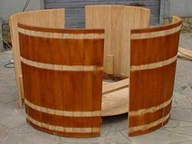 Wooden baptismal font.: installation is done on site, where will be placed the font
