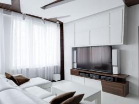 Большая белая гостиная в стиле деконструктвизм