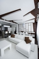 Combined living room with large white sofa