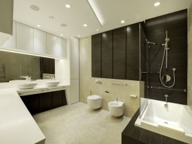 A large black and white bathroom