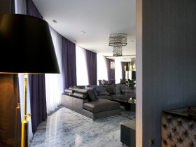 The dark interior of the apartment in eclectic style