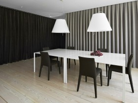 Black and white dining room in a minimalist style