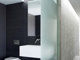 Interior bathroom in minimalist style