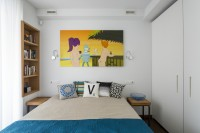 Bright bedroom in the style of pop art