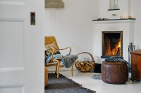 The design of the fireplace wood in a white room