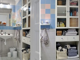 The interior of bright bathroom