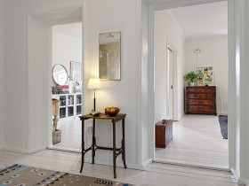 The interior rooms in white color with wooden furniture