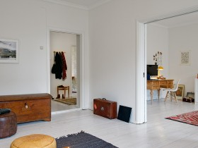 White room with a chest, Scandinavian style interior