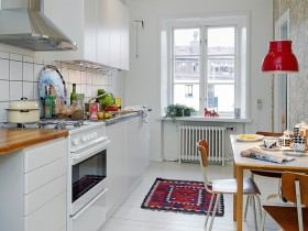 White kitchen with bright rug