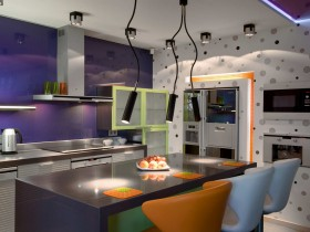 Kitchen interior in the style of hi-tech