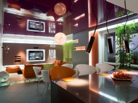 Beautiful lighting rooms in the style of hi-tech