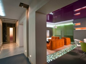 The interior of a large apartment in the style of hi-tech