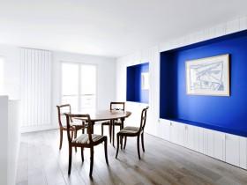 Minimalist dining room in white tones