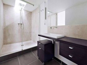 Black and white bathroom in minimalist style