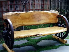 Wooden bench with wheels from the car