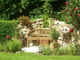 Beautiful bench in garden