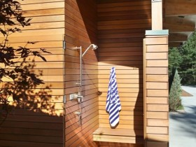 Summer shower attached to the house