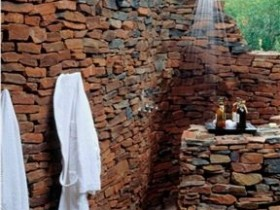 Outdoor shower made of natural stone